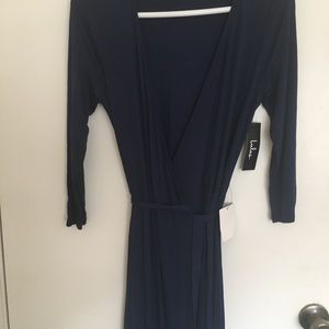 Dark blue Lulus maxi wrap dress, size medium